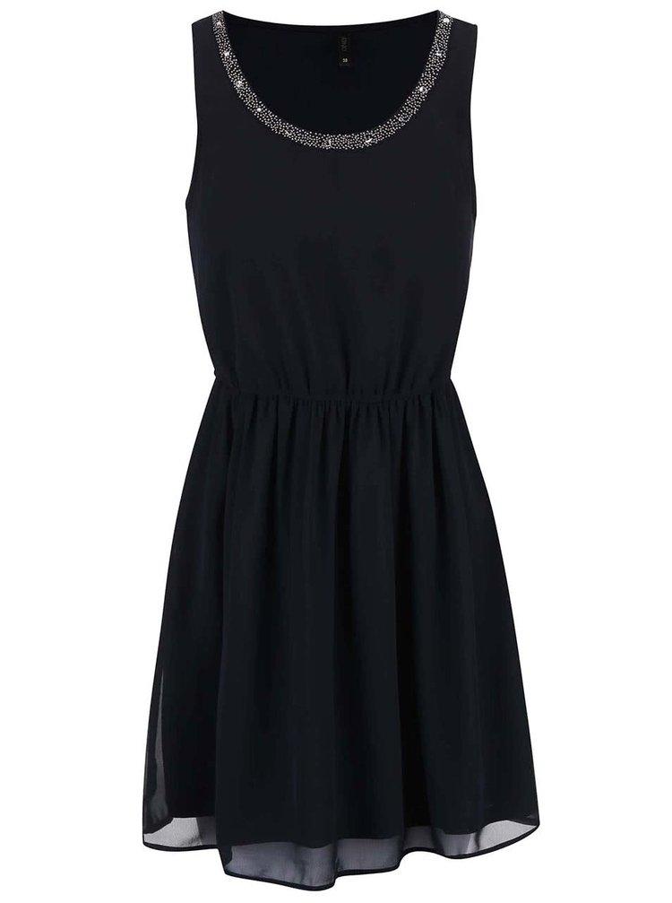 Tmavomodré šaty s ozdobou okolo krku ONLY Thea