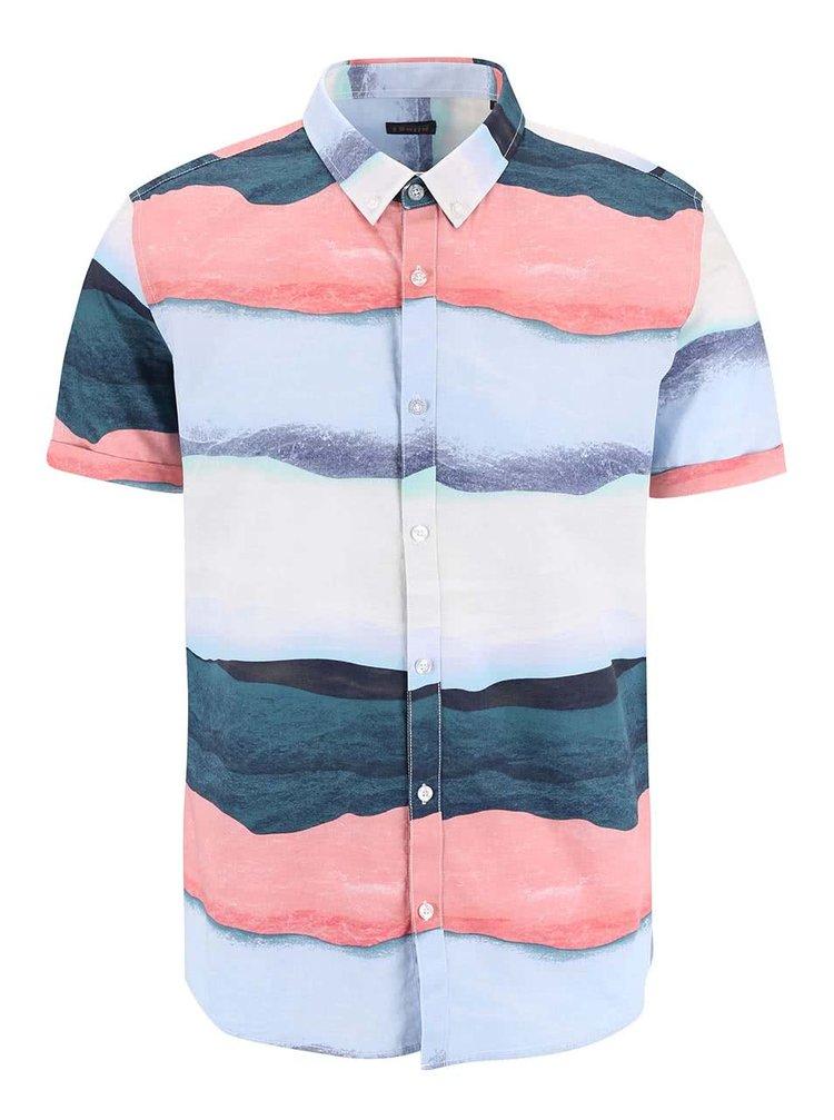 Modrá pruhovaná košile s krátkým rukávem !Solid Barn