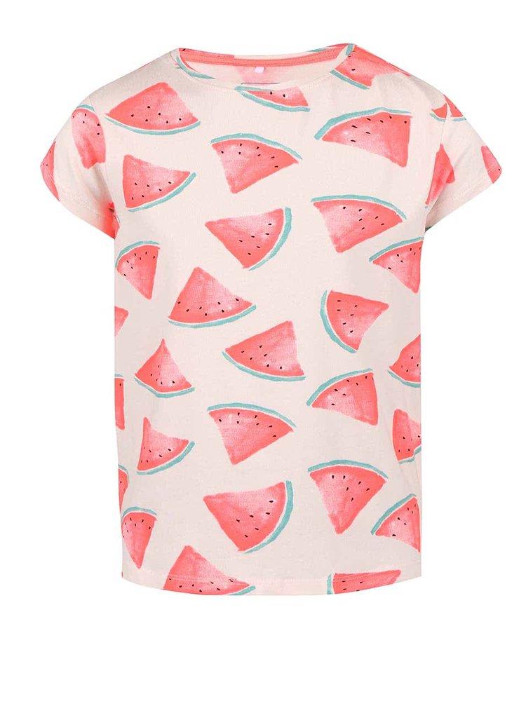 Béžové dievčenské tričko s potlačou melónov name it Helen