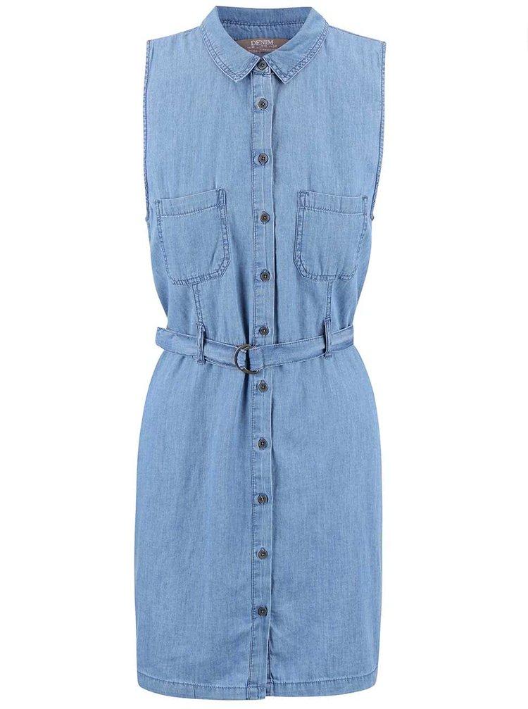 Modré džínové šaty s páskem Dorothy Perkins