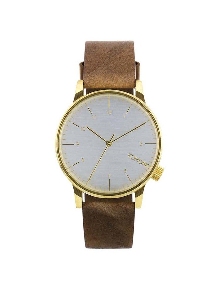 Pánské hodinky ve zlaté barvě s tmavě hnědým koženým páskem Komono Winston Regal