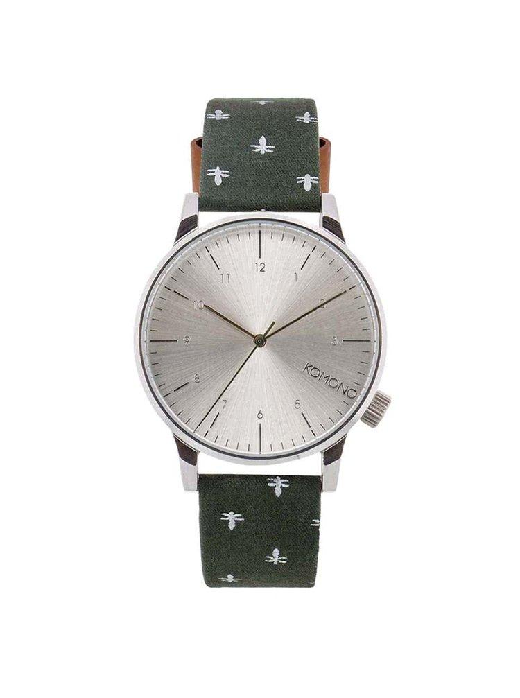 Unisex hodinky ve stříbrné barvě s tmavě zeleným vzorovaným textilním páskem Komono Winston Bumblebee