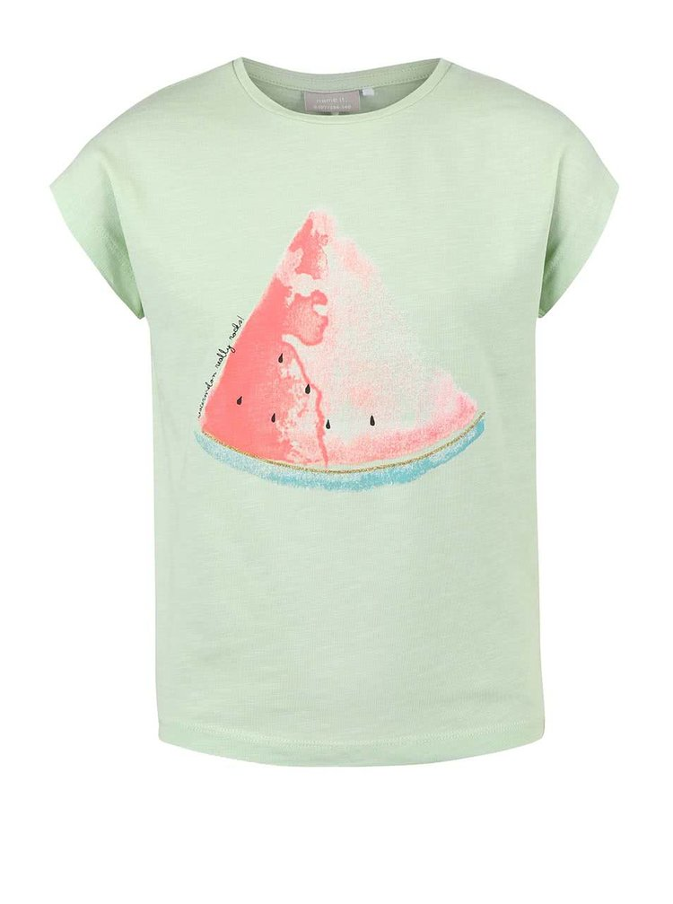 Svetlozelené dievčenské tričko s melónom name it Helly