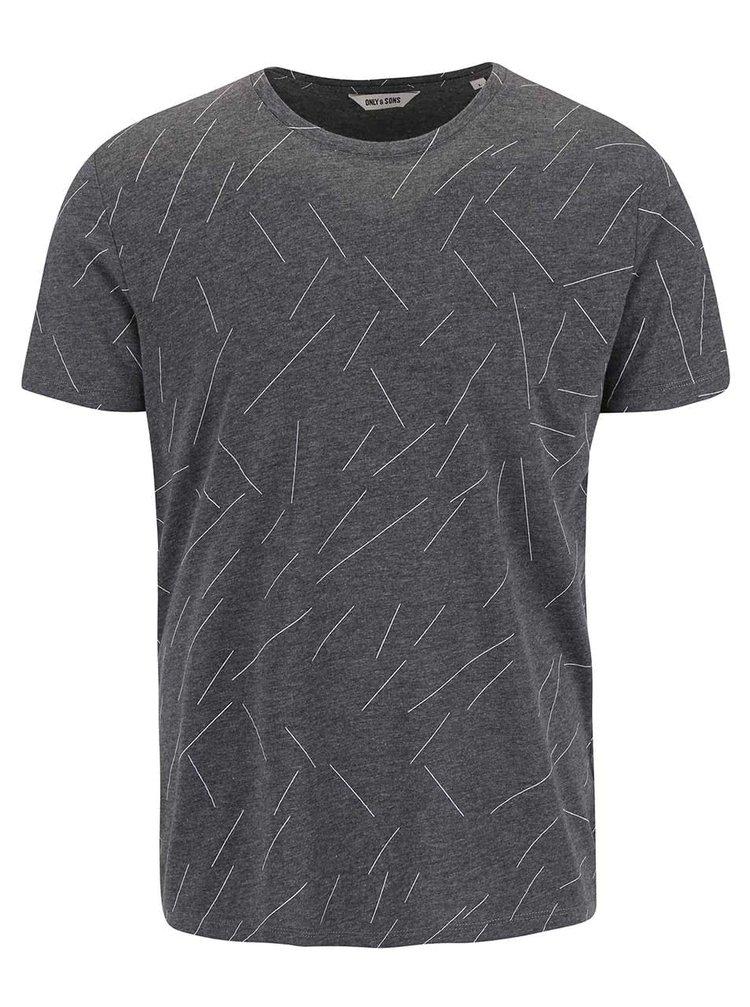 Tmavě šedé triko s optickým vzorem ONLY & SONS Soul