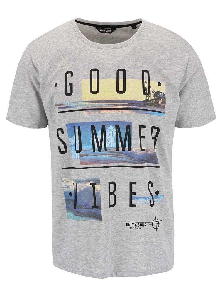 Sivé tričko s potlačou ONLY & SONS Sivas