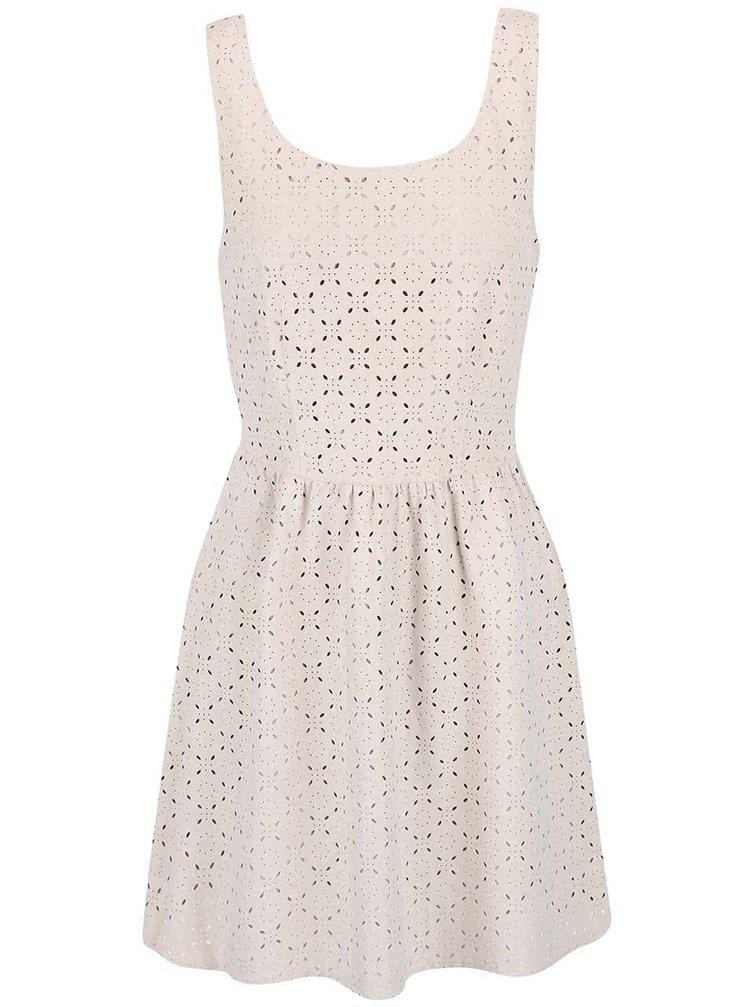 Béžové šaty s perforovaným vzorom ONLY Lola