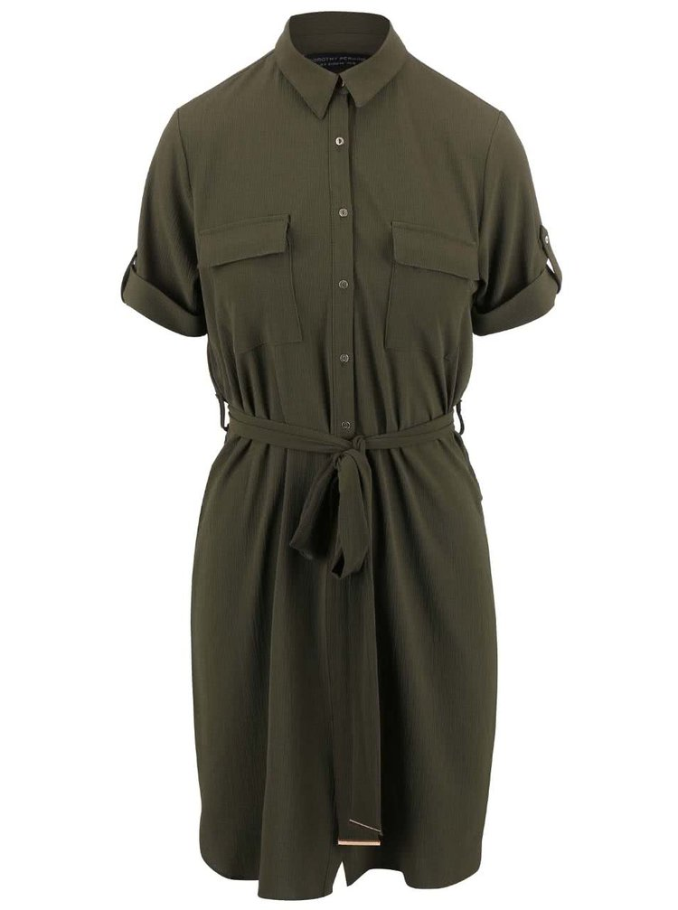 Kaki košeľové šaty s opaskom Dorothy Perkins