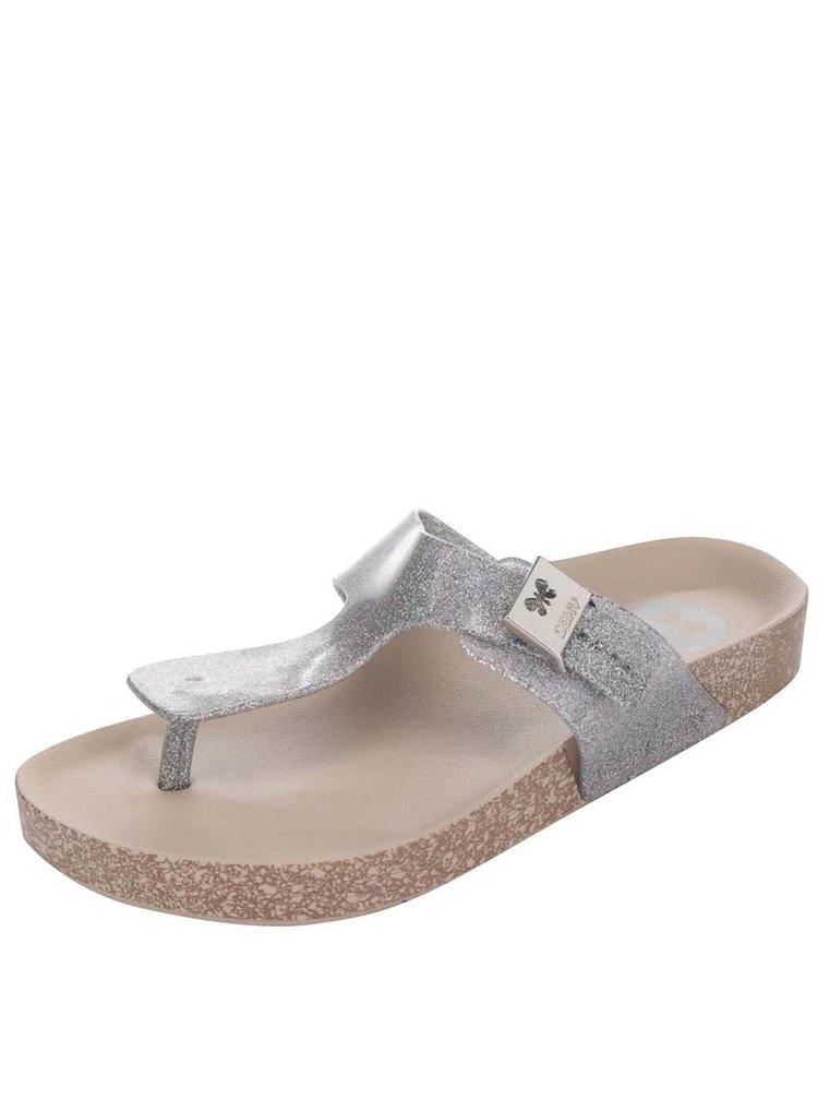 Třpytivé žabky ve stříbrné barvě Zaxy Fashion Flat Thong