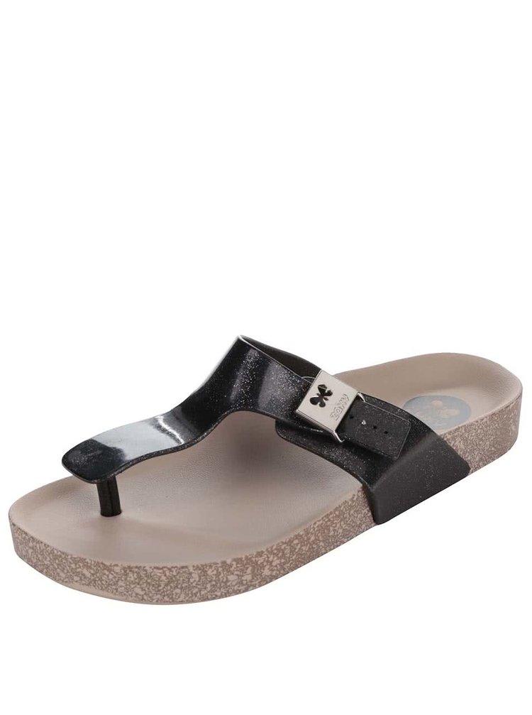 Třpytivé černé žabky Zaxy Fashion Flat Thong