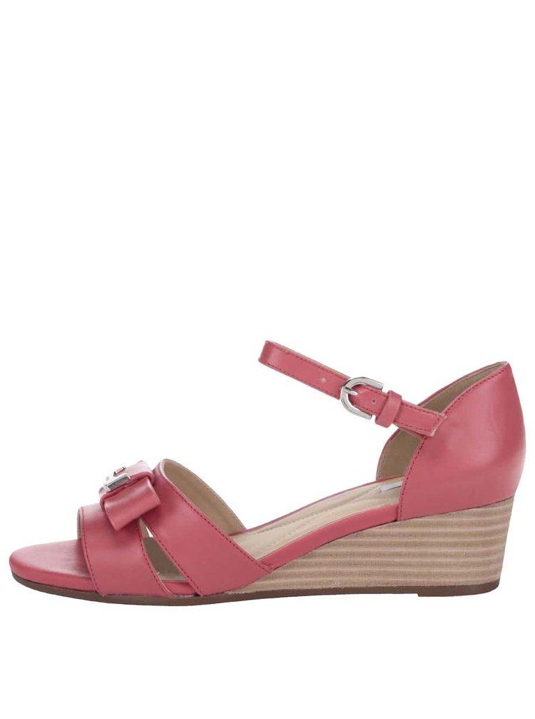 Tmavoružové kožené sandále na klinovom podpätku GEOX Lupe