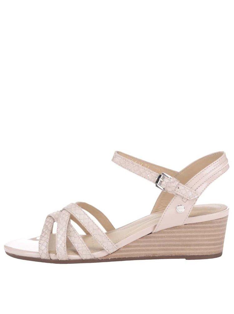 Telové kožené sandále na klinovom podpätku GEOX Lupe