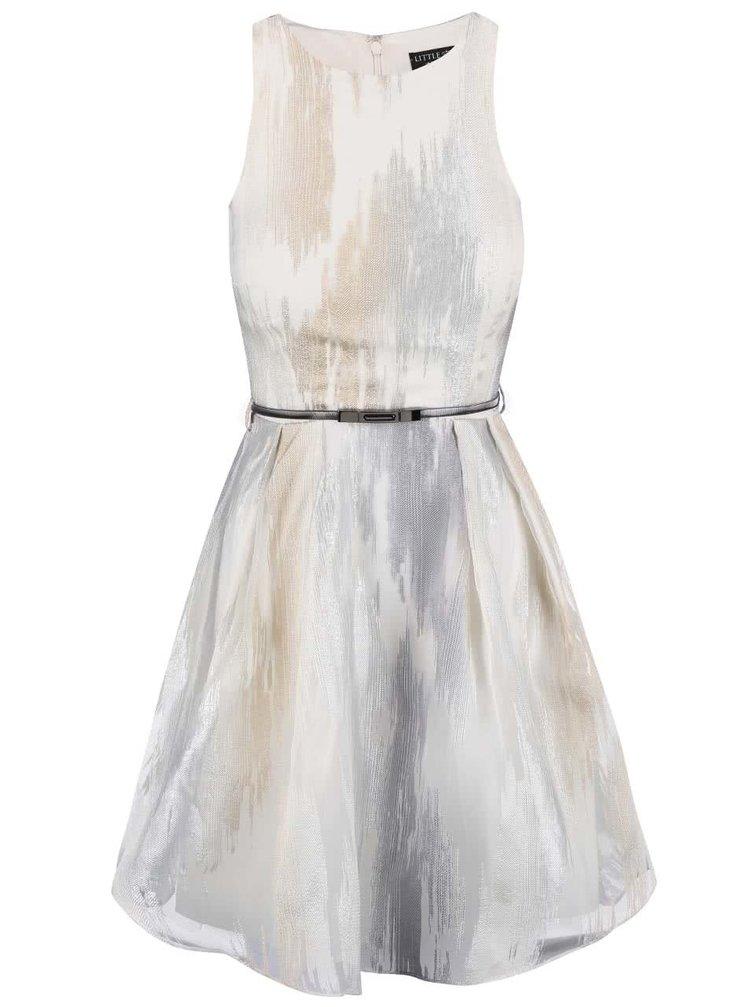 Bílo-šedé šaty s páskem Little Mistress