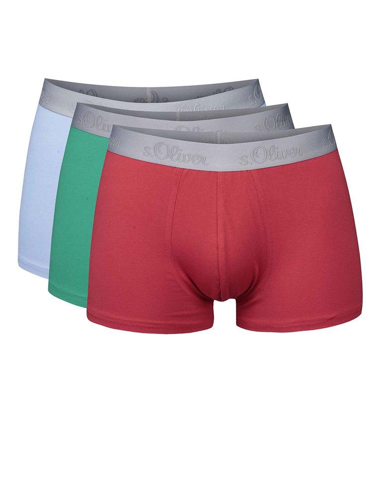 Kolekcia troch modrých, zelených a červených boxeriek s.Oliver III.
