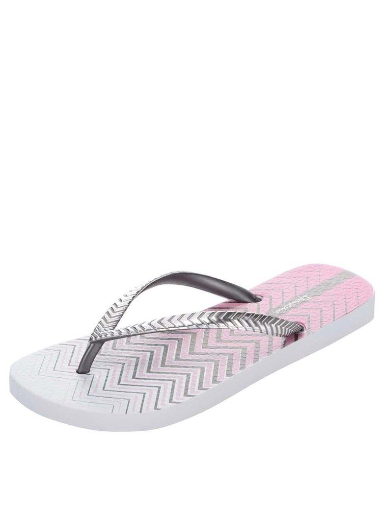 Růžovo-šedé žabky s páskou ve stříbrné barvě Ipanema Classic Trends