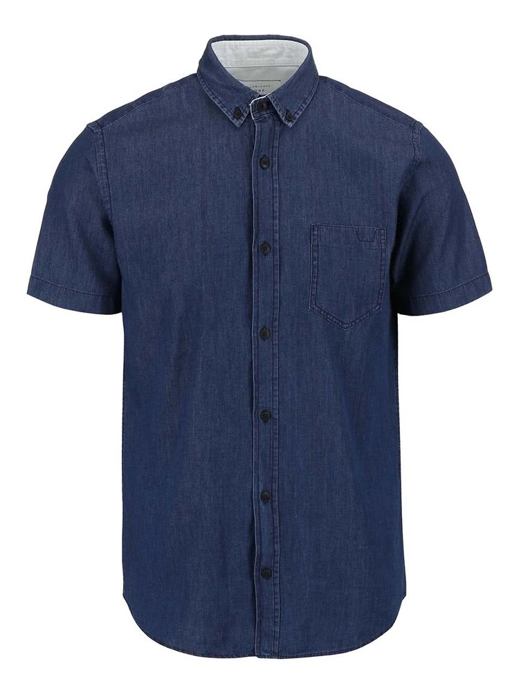 Tmavomodrá rifľová košeľa s krátkym rukávom Jack & Jones Caffrey