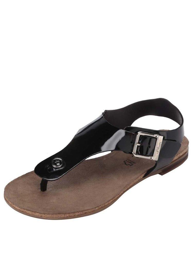 Čierne lesklé kožené dámske sandále s.Oliver