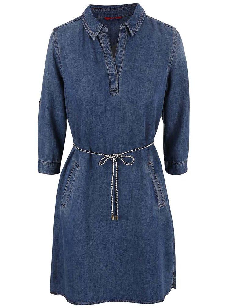 Modré dámske rifľové šaty s.Oliver