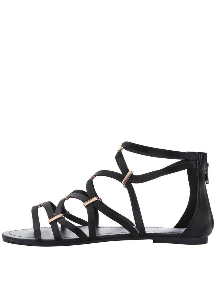 Čierne sandálky s detailmi v zlatej farbe Dorothy Perkins