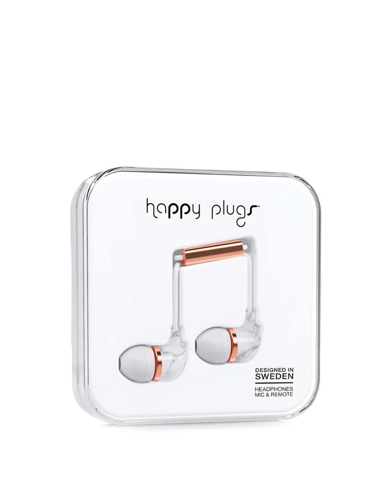 In-Ear sluchátka s mramorovým vzorem Happy Plugs Carrara Marble