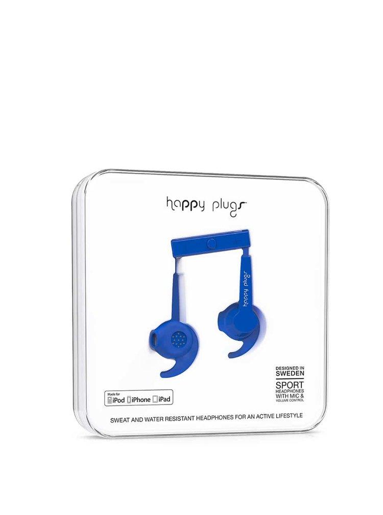 Modrá sportovní sluchátka Happy Plugs