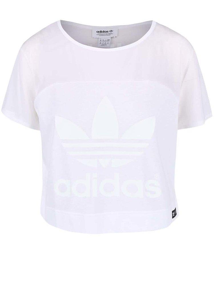Biele dámske krátke tričko adidas Originals Slit