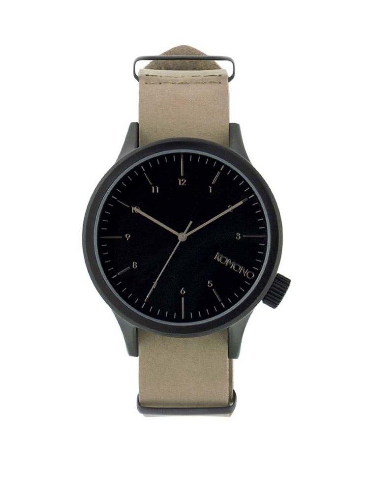 Černé pánské hodinky s béžovým koženým páskem Komono Magnus