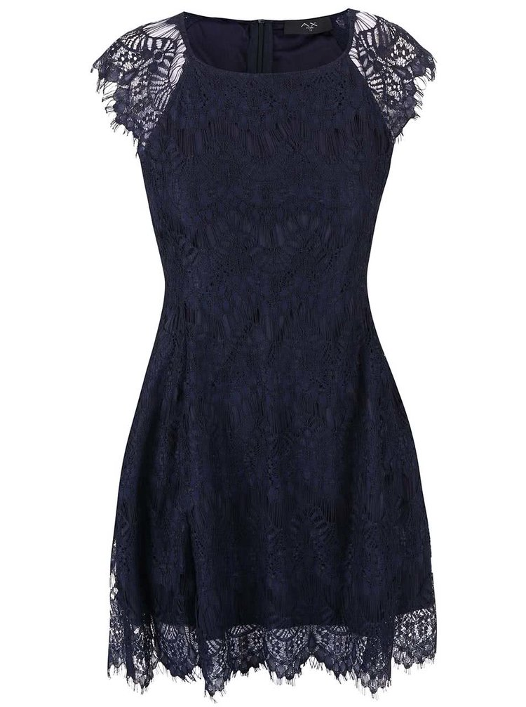 Tmavomodré čipkované šaty AX Paris