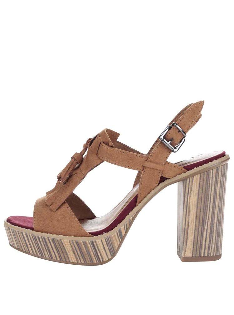 Hnedé topánky na podpätku a platforme Tamaris