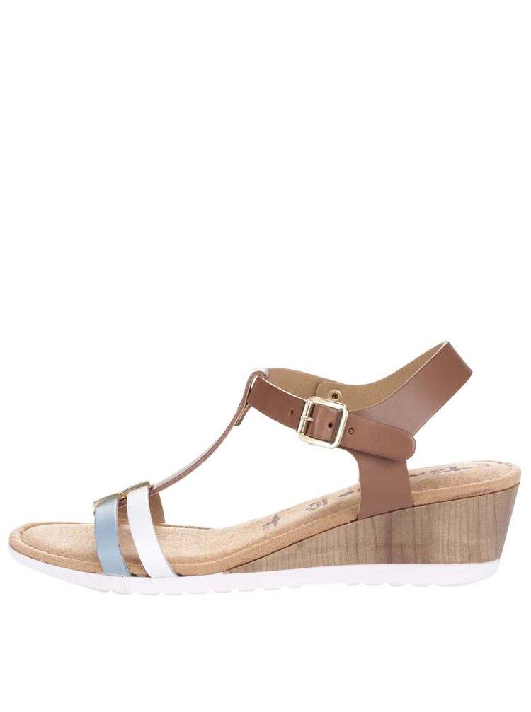Sandale cu platformă Tamaris maro din piele