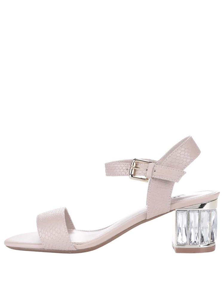 Béžové kožené sandále na podpätku Dune London Marcia