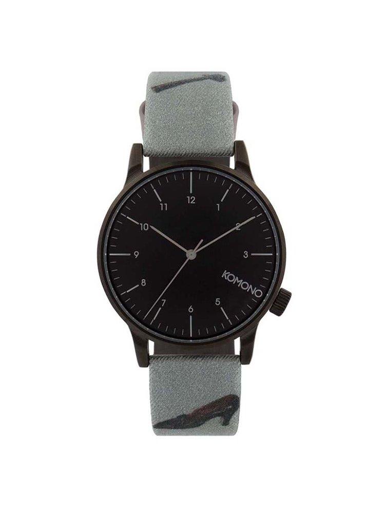 Černé unisex hodinky se vzorovaným textilním páskem Komono Winston