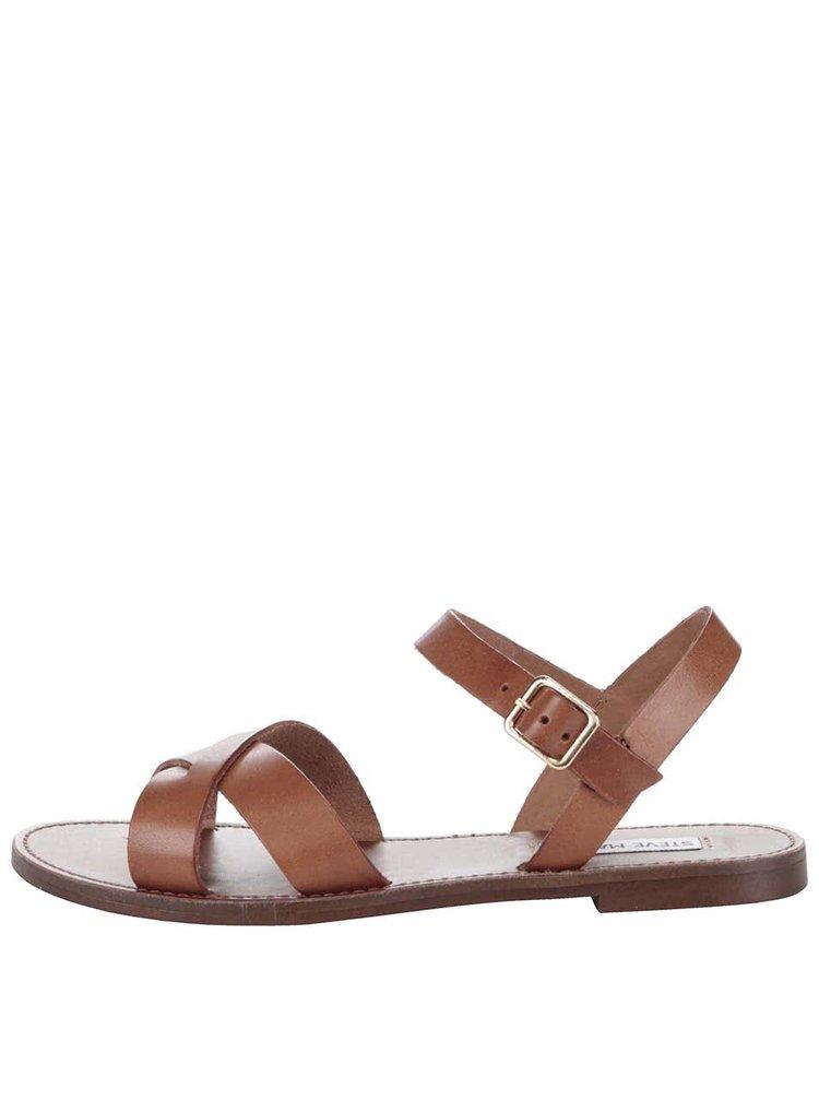 Hnedé dámske kožené sandále Steve Madden Dublin