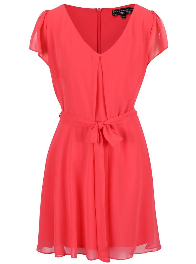 Ružové šaty s krátkymi rukávmi a opaskom Dorothy Perkins Curve