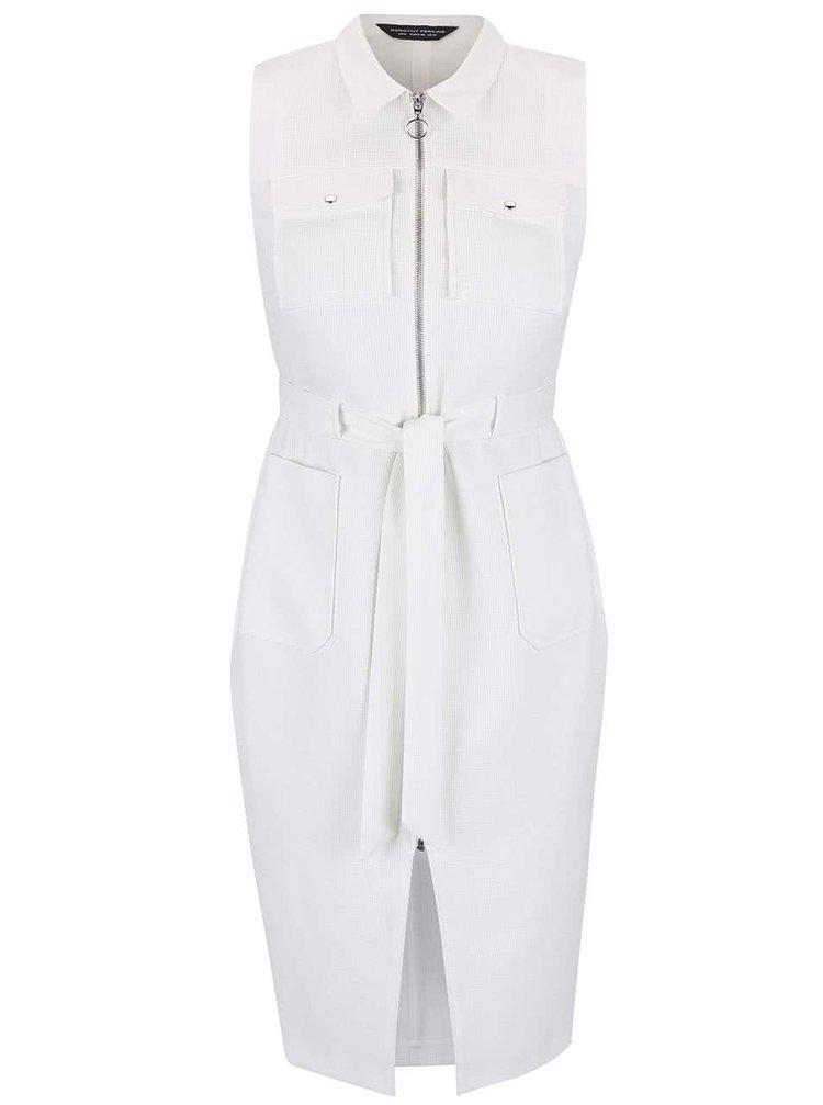 Bílé šaty na zip Dorothy Perkins