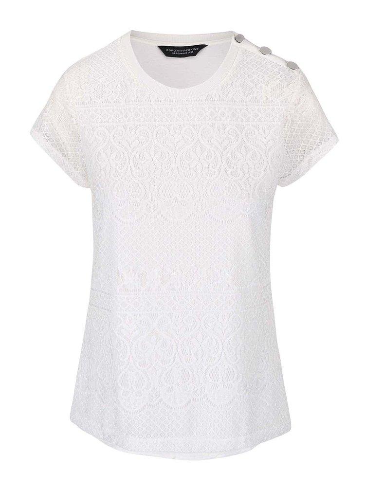 Krémové krajkové tričko s průsvitnými rukávy Dorothy Perkins