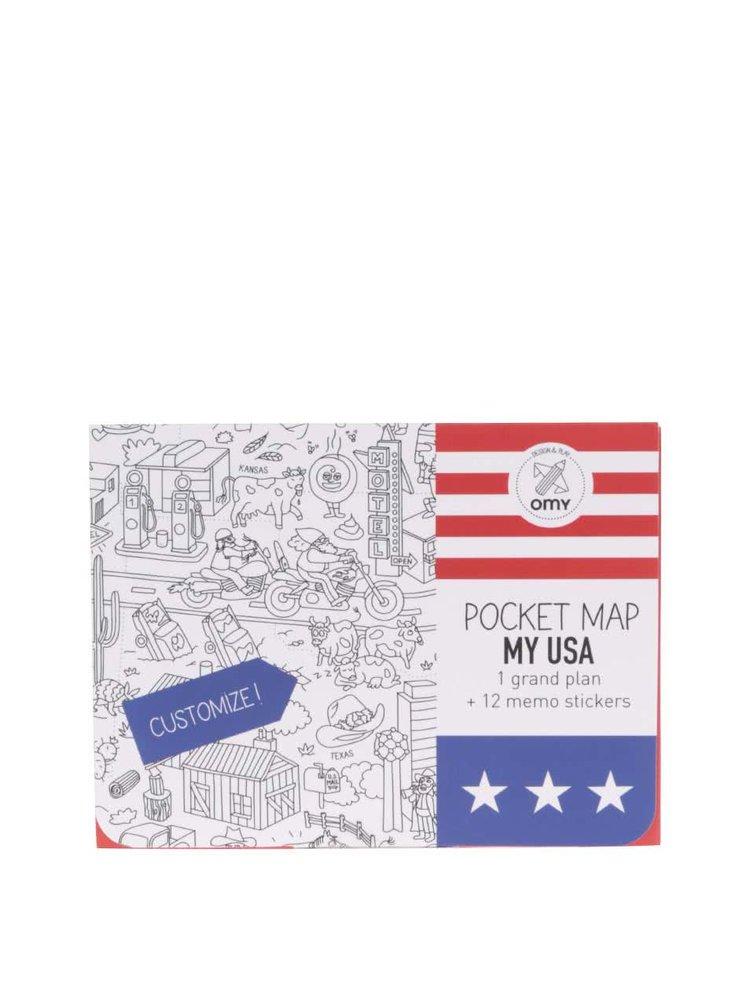 Hartă de colorat USA OMY