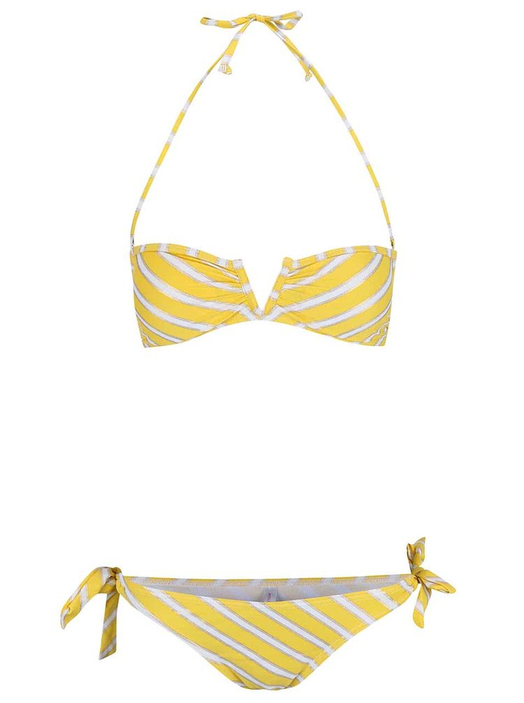 Žluté dvoudílné plavky s bílými proužky Relleciga