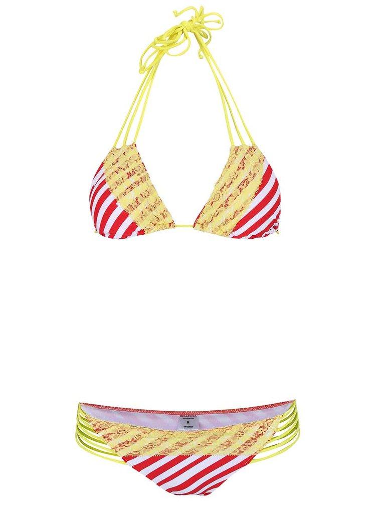 Červeno-žlté dvojdielne plavky s pruhmi Relleciga