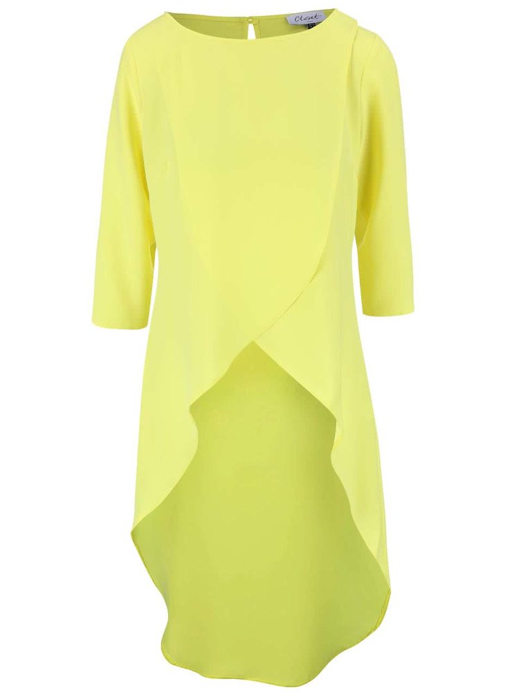 Neonově žlutý asymetrický top s tříčtvrtečním rukávem Closet