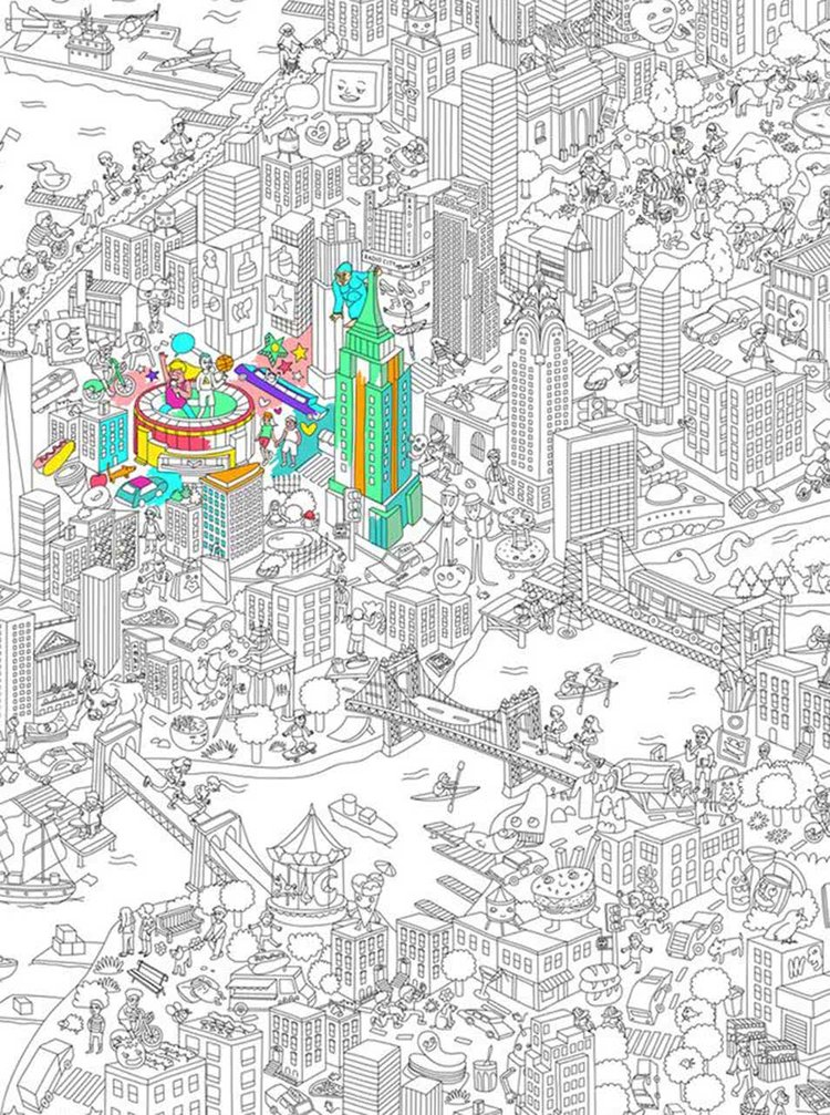 Poster de colorat New York City OMY