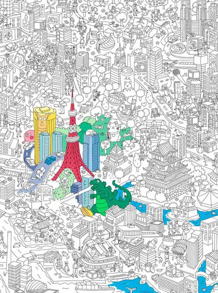 Poster de colorat Tokyo OMY