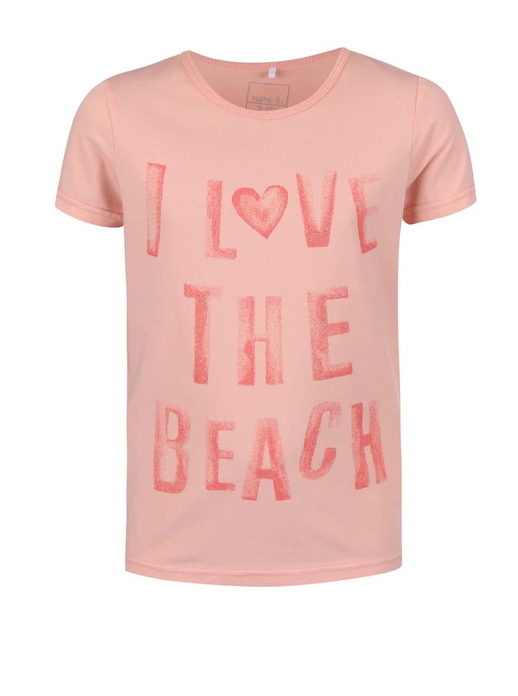 Ružové dievčenské tričko s nápisom name it Vix