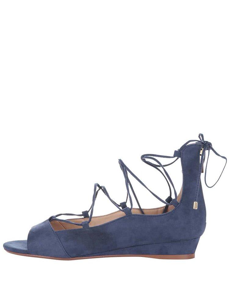 Modré šnurovacie sandále na klinovom podpätku ALDO Arla