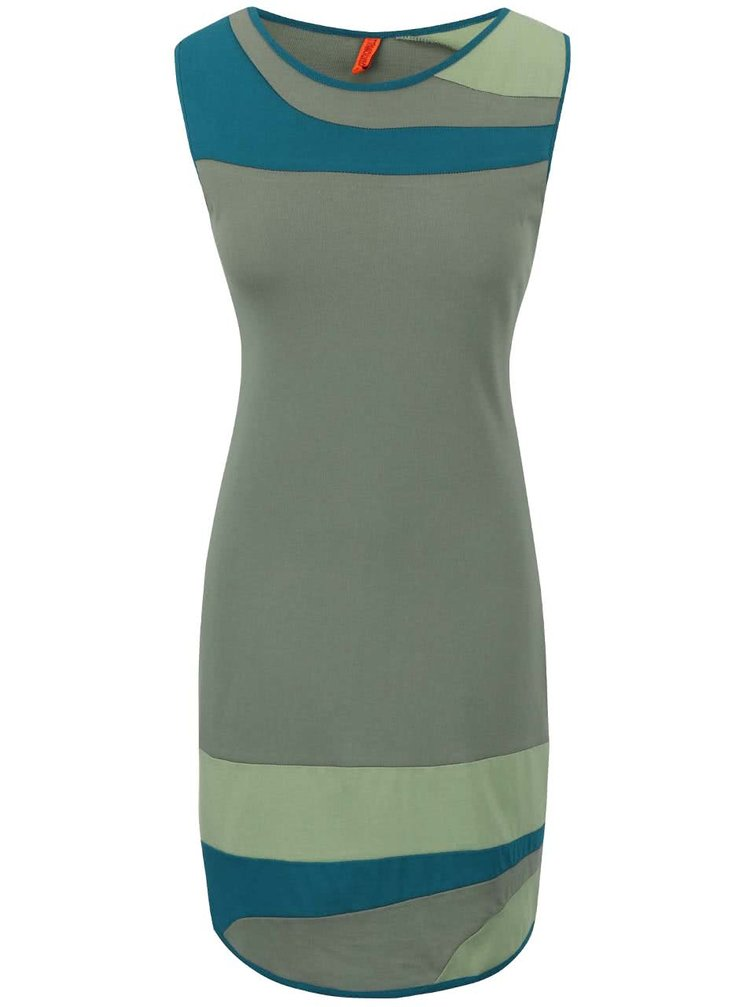 Kaki šaty s farebnými pruhmi Tranquillo Nuka