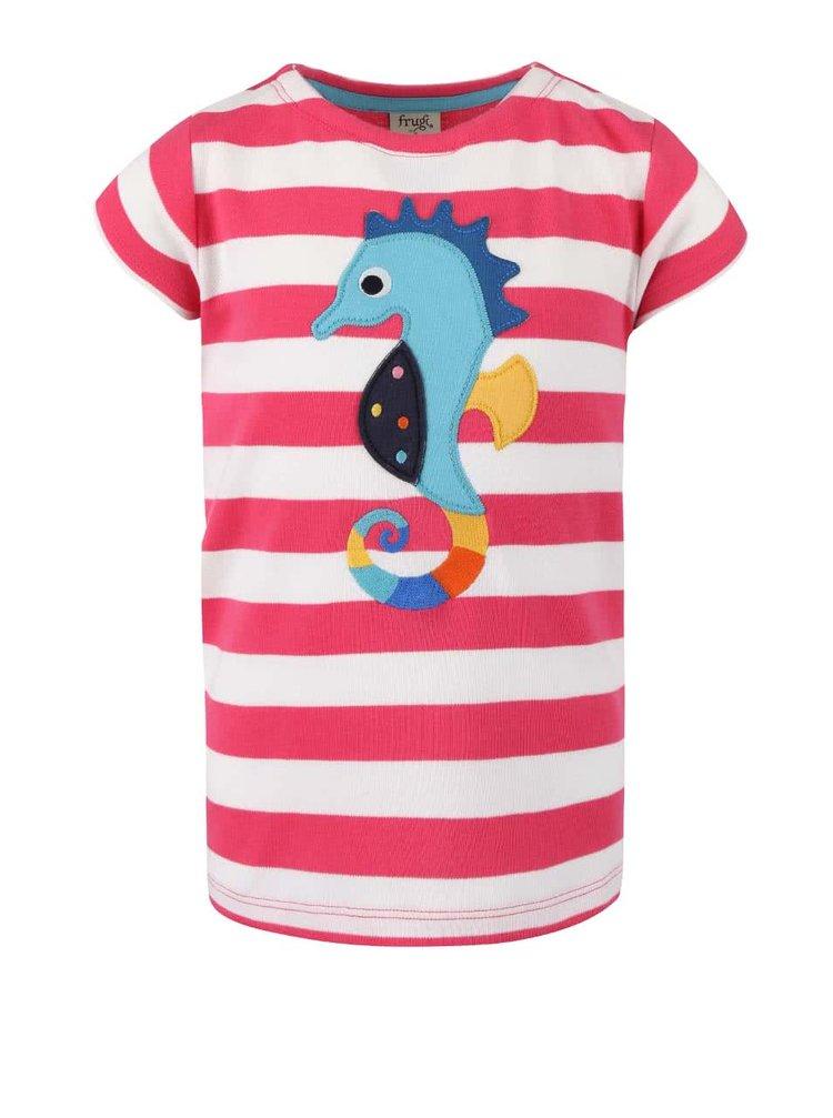Ružové dievčenské tričko s morským koníkom Frugi St. Ives Boat