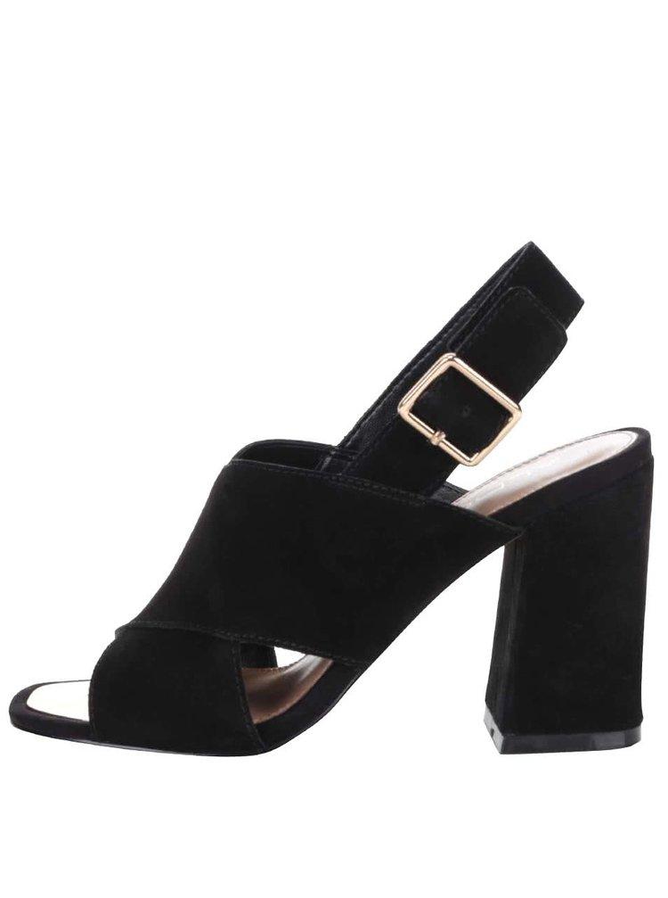 Čierne semišové sandále na podpätku s prackou v zlatej farbe ALDO Joli