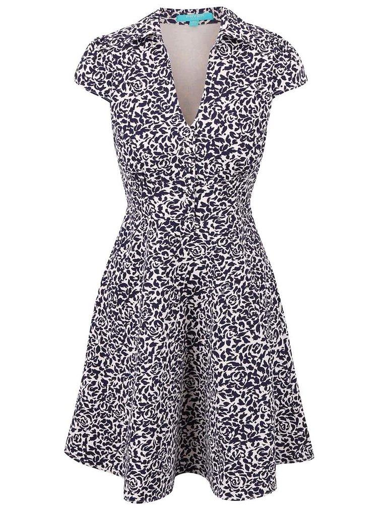Modré vzorované šaty s golierikom Fever London Betty