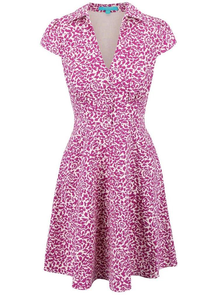 Růžové vzorované šaty s límečkem Fever London Betty