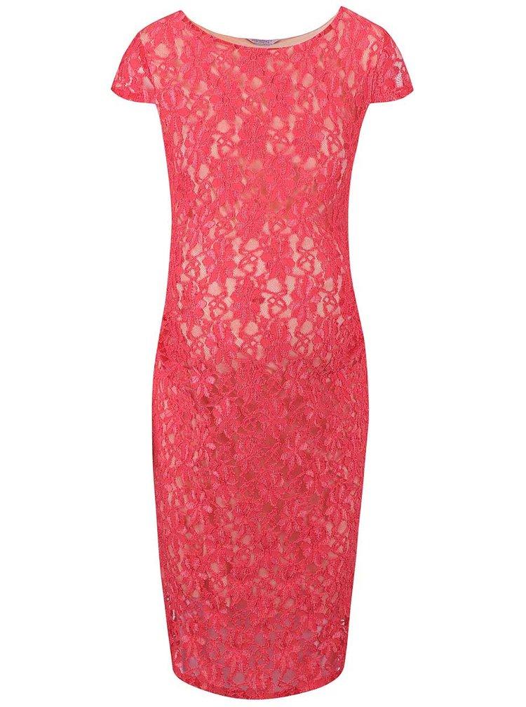 Krémovo-ružové tehotenské čipkované šaty Dorothy Perkins Maternity