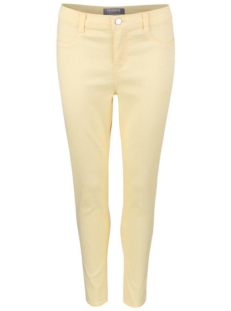 Světle žluté elastické capri kalhoty Dorothy Perkins